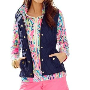Lily Pulitzer Blake Quilted Navy Puffer Vest Small